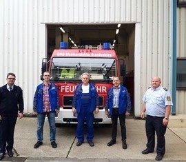 vlnr: Robert Buder (Vorstandsvorsitzender KFV), René Arndt, Rüdiger Hirsch,Karsten Zeisig und Kreisbrandmeister Stefan Grothe