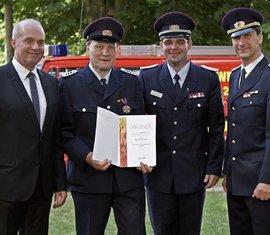 Bürgermeister Dieter Perko, OWF Harald Noack, KFV-Vorsitzender Robert Buder, Stellvertretende KBM Karsten Magister