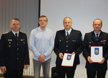 Jürgen Mönch (Leiter UV I KFV), Bürgermeister Karsten Schreiber, Ralf Pujo, Steffen Theiler