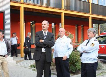 Landwirtschaftsminister Dr. Dietmar Woidke, Ehrenlandesbrandmeister Jürgen Helmdach und Kreisbrandmeister Wolfhard Kätzmer