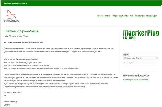 Screenshot der Umfrageseite