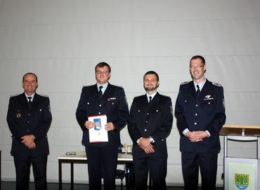 Vlnr: Gemeindewehrführer Steffen Theiler, Christian Otte, Ortswehrführer Marco Kunisch, Sascha Erler (KFV)